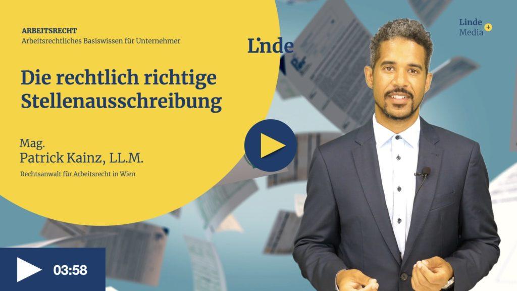 VIDEO: Die rechtlich richtige Stellenausschreibung – Patrick Kainz